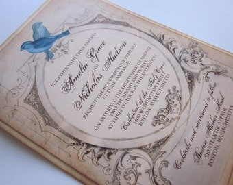 Vintage Wedding Invitation - Love Birds Sample - Amelia Collection