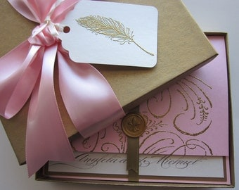 Boxed Wedding Invitation - pink - Marie Antoinette inspired -Regal -Angela Collection -  SAMPLE