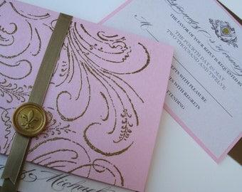 Luxury Vintage Wedding Invitation - Marie Antoinette inspired -Regal- Angela Collection -  SAMPLE
