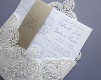 vintage wedding invitation - Lace doily and rustic flourish - Deborah Collection-  SAMPLE