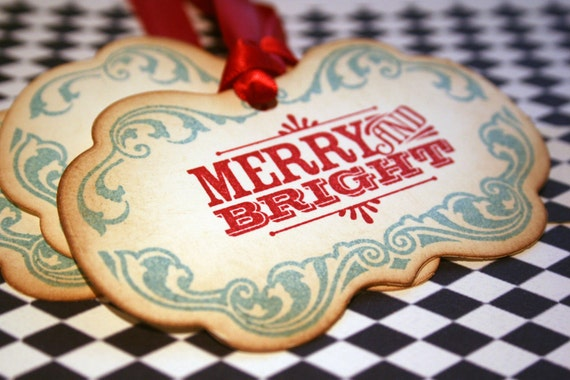 Christmas Tags - Retro Merry and Bright  -  Set of 5