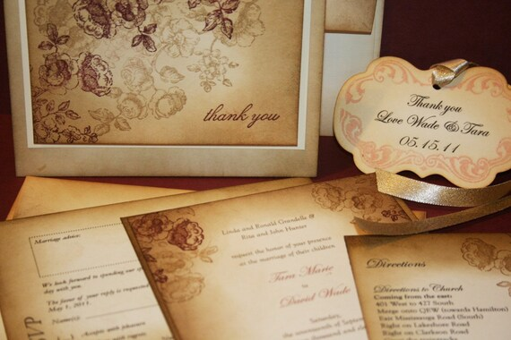 Shabby Chic Vintage Wedding Invitation Suite - Tara Collection -  colour of your choice - by anista designs