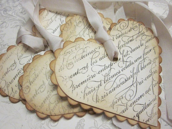 Items similar to vintage shabby chic tags french script - Vintage and chic love ...