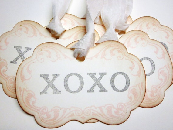 Valentine Tags - xoxo tags - Vintage Appearance - set of 5