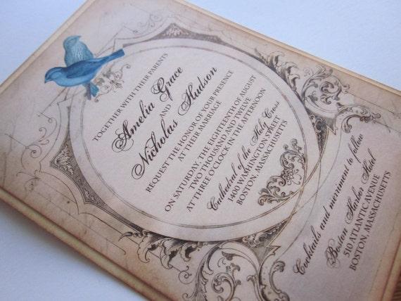 Love Birds Vintage Wedding Invitation/RSVP- Sample - Amelia Collection