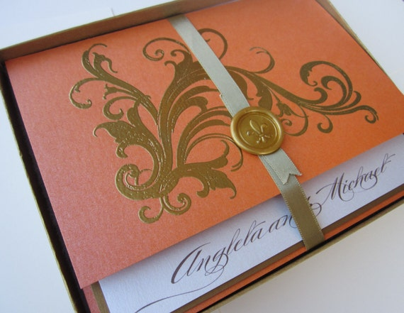 Tangerine Vintage Wedding Invitation -Boxed  Marie Antoinette inspired -Regal -  SAMPLE