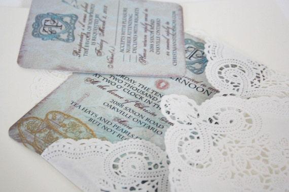 Vintage Tea Party Wedding Invitations: Items Similar To Vintage Tea Party Bridal Shower