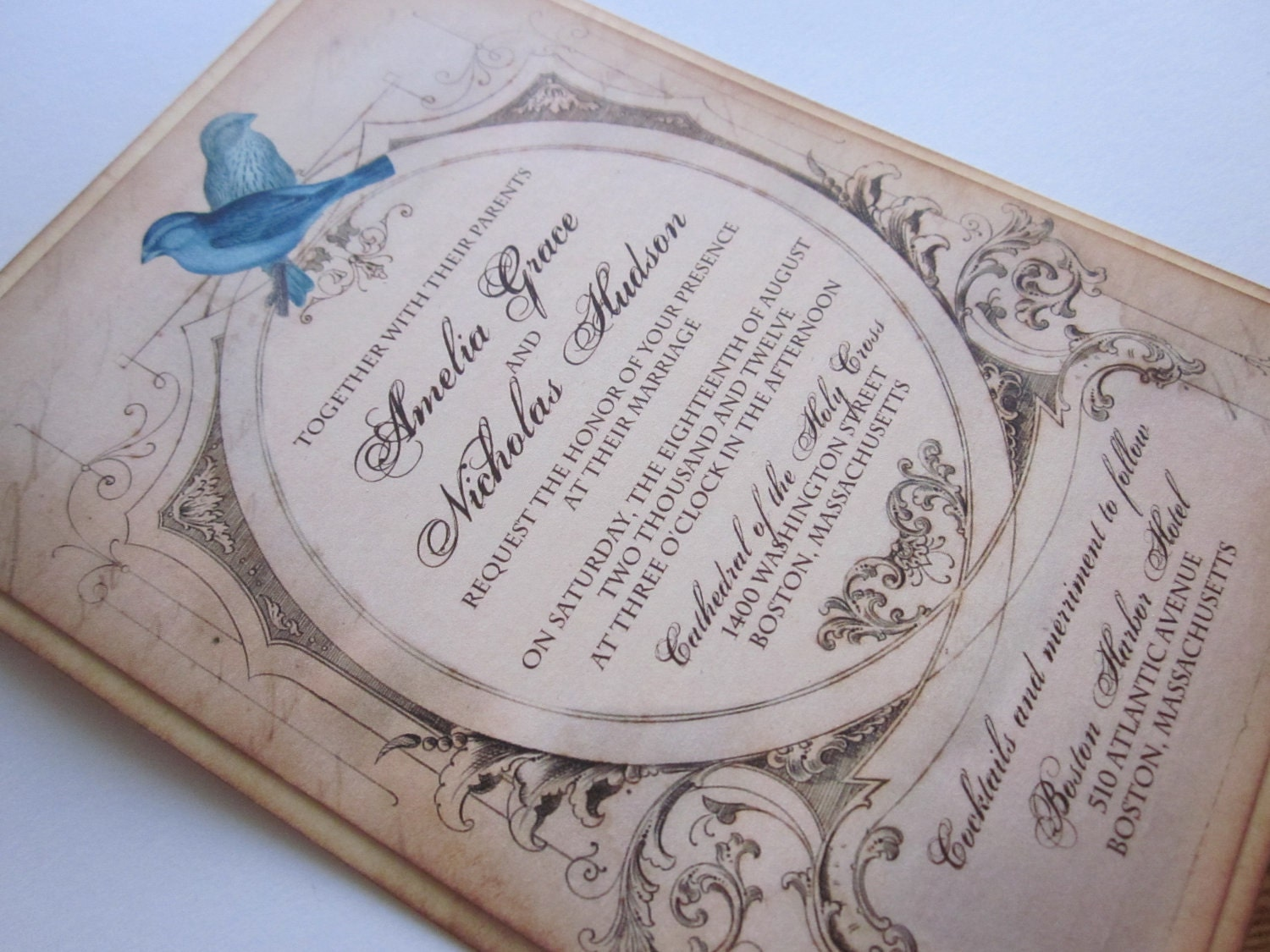 Bird Wedding Invitation: Vintage Wedding Invitation Love Birds Sample Amelia