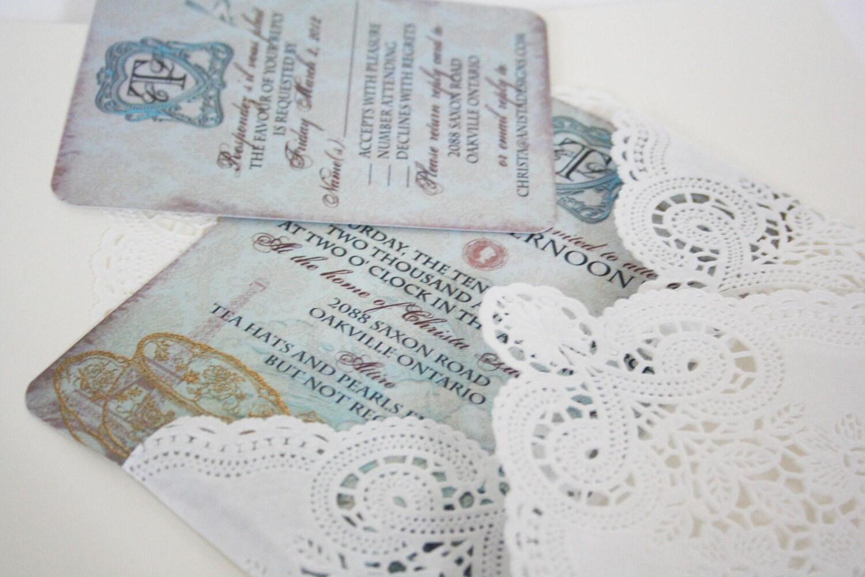 Vintage Tea Party Wedding Invitations: Vintage Tea Party Bridal Shower Invitation With By