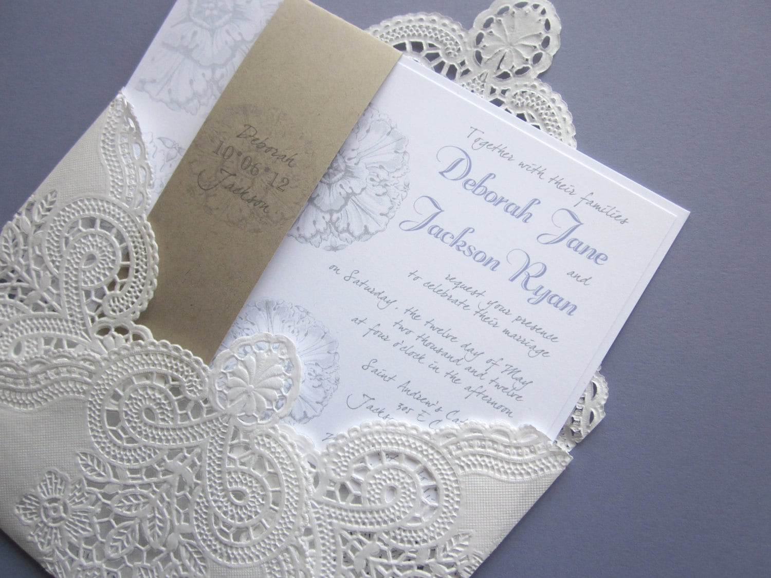 Vintage Wedding Invitation Lace Doily And Rustic Flourish