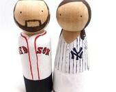 Peg Doll Baseball Fan Wedding Cake Topper
