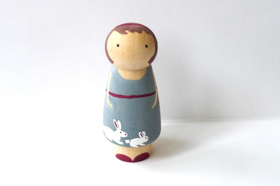 Wooden Peg Doll Bunny Girl