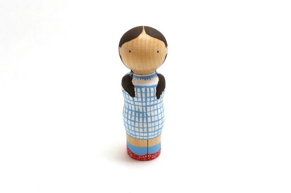 Wooden Peg Doll Dorothy Wizard of Oz