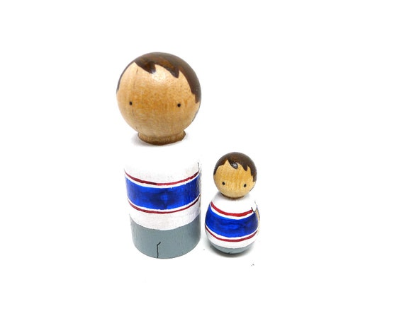 Wooden Peg Doll Custom Father and Son Set