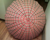 Vintage Red and Gray Plaid Umbrella