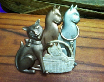 Calling All Cat Lovers PRICE REDUCED Had Been 30.00 Now ONLY 20. Vintage Cat Pin Brooch in Gold, Silver, Bronze, and Copper Tones Great Gift