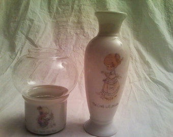 Vintage Pair of Precious Moments Items, Vase and Tealight or Votive Lantern