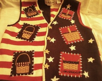 PATRIOTIC 90s BellePoint LONGABERGER Sweater Vest, Hey Collector Show Patriatism on Election Day and Other Patriotic Occasions Dresden OH