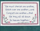 Cherish One Another Comfort - flower vine - pdf Cross Stitch Saying by Lady Robins Nest