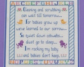 Rocking My Baby or Cleaning and Scrubbing - pdf Cross Stitch Saying by Lady Robins Nest