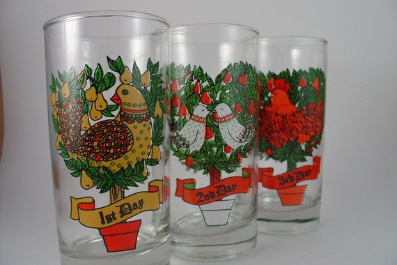12 DAYS OF CHRISTMAS - BEVERAGE GLASSES BY INDIANA GLASS
