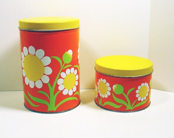 Vintage J L Clark Bright Orange Daisy Print Tins