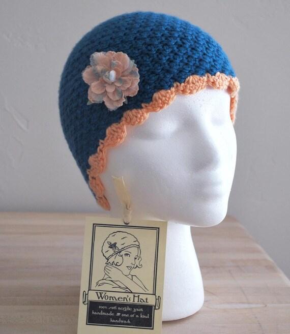 Retro Womens Crochet Hat-Dk Blue