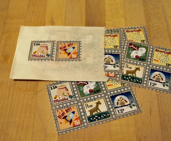 Retro Style Postage stamp stickers