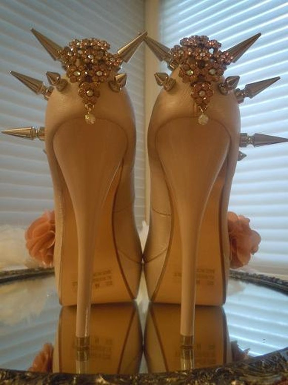 High Heel Platform Spiked Women Shoes Pink Blush/Nude  size 6 1/2 .A SpikesByG Design.... S A L E