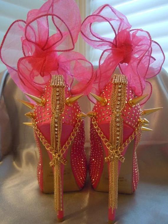 High Heel Platform Spiked Women Shoes Hot Pink size 8...A SpikesByG Design