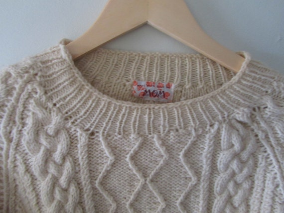 Vintage Handmade Cream Fisherman's Sweater