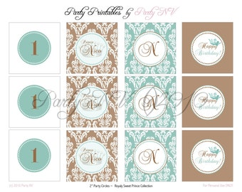 """PRINTABLE (2"""" PARTY CIRCLES) - """"Royaly Sweet Prince"""" Collection - Vintage, Old World Design"""