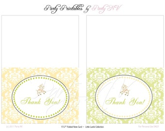 """PRINTABLE (Thank You Notes) - """"Little Lamb"""" Collection- Vintage Design"""