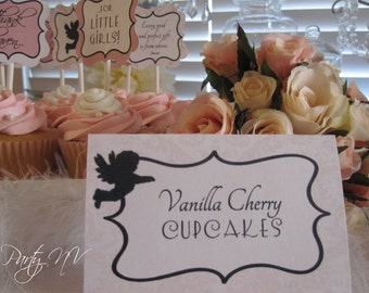 PRINTABLE (BLANK Table Tents) - Thank Heaven for Little Girls Collection