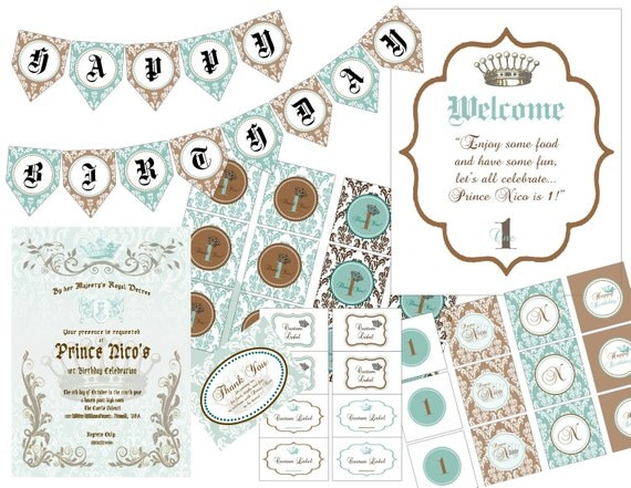 "PRINTABLE (FULL COLLECTION) - ""Royaly Sweet Prince"" Collection - Vintage, Old World Design"