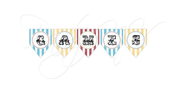 "PRINTABLE (""Games"" BANNER) - ""Old Time"" Carnival Collection- Vintage Design"