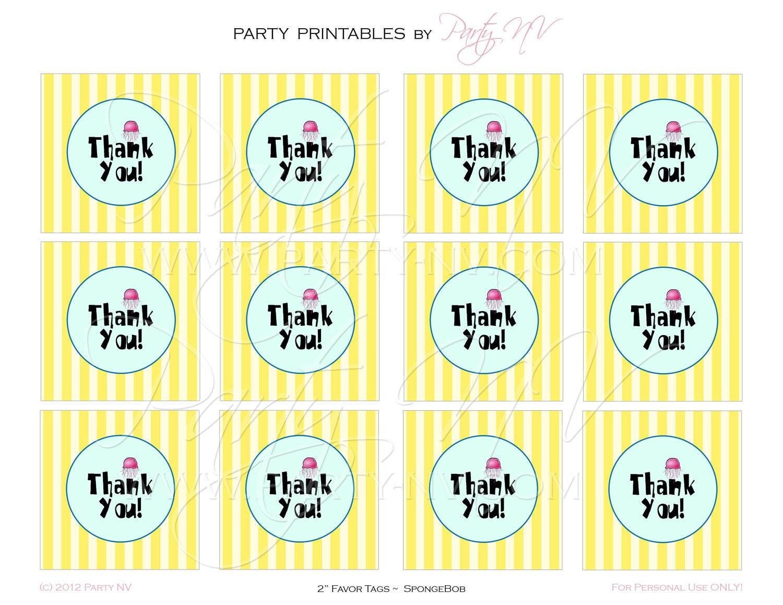 printable 2 favor tags spongebob best day