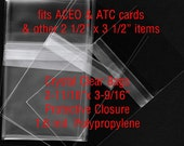 """100 - ACEO size - Crystal Clear Polypropylene Bags - Protective Closure - 2-11/16"""" x 3-9/16"""" Cello Bags"""