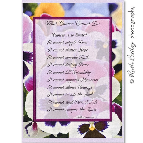 What Cancer Cannot Do Inspirational Card Survivor Hope