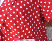 ROCKABILLY RED Polka Dot Short Sleeve Cotton Bolero Type Jacket with Lace and Diamonte Trim Size Medium