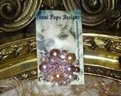 Vintage 1950s STYLE Pink Beaded Brooch