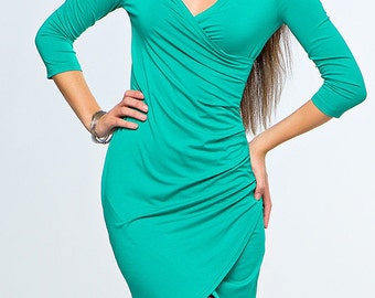 beautiful turquoise wrap dress to the knee