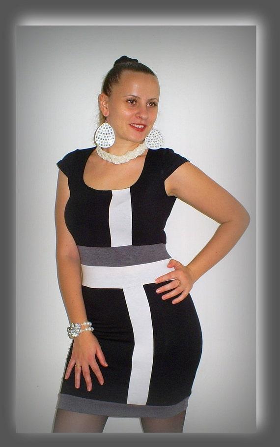 black dress with stripes