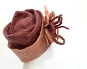 Wool Felt Hat Cinnamon Salmon OOAK