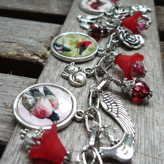 Song Birds Picture Frames Charms Bracelet Antique Silver Red Color Theme