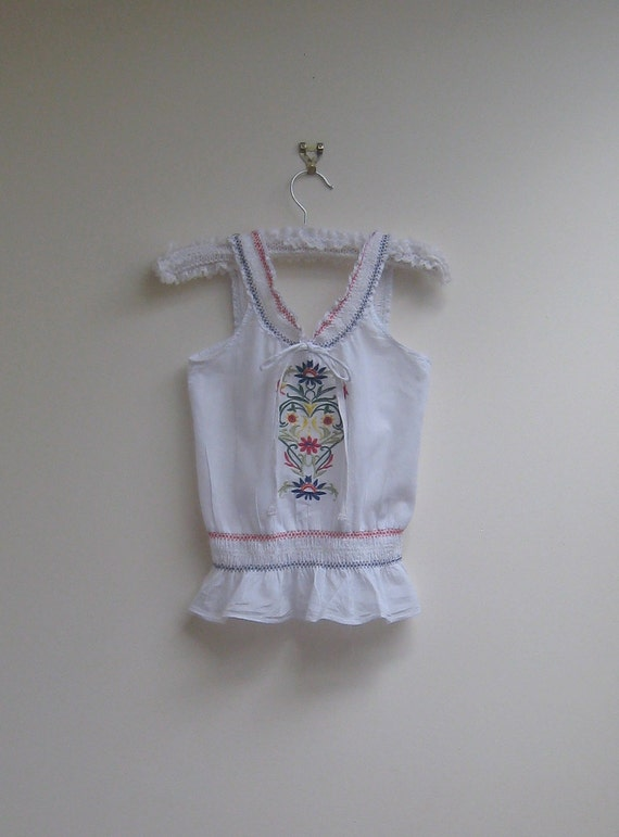 vintage embroidered mexican top, girls, size 6