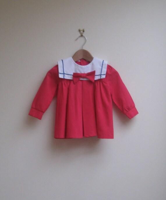 vintage pink dress, elizabeth anne sailor frock, size 1T - 2T