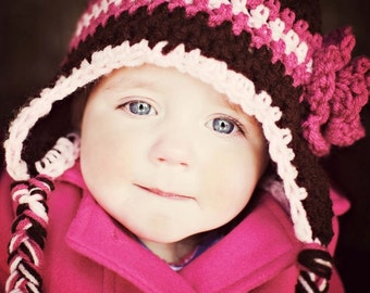 Girls earflap hat-can be made in any size