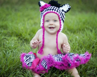 Crochet Zebra Earflap hat-can be made in any size