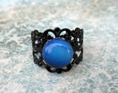 Victorian Style Black Adjustable Filigree Ring With Beautiful Opalite Cabochon